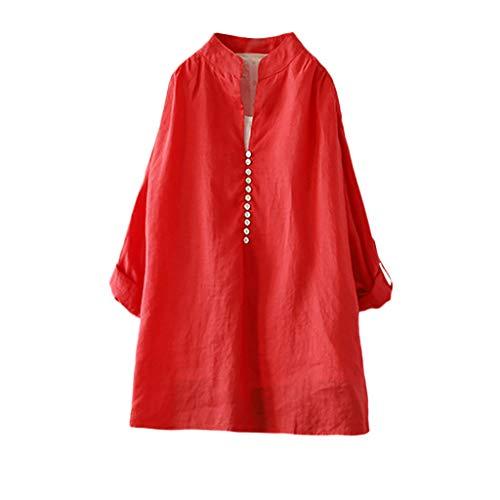 COZOCO Camisa Suelta con Botones De Color Sólido Retro En La Parte Superior De Algodón Casual De Gran Tamaño
