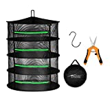 iPower 2ft 4-Layer Hanging Herb Mesh Rack Foldable Drying Net with Zippers, Free Storage Bag and Hook Included, 6.5 Inch Orange Hand Pruner for Plant, Straight Stainless Steel Blades