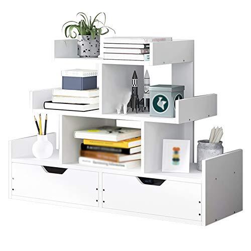 Bücherregal für Kinder XJJUN Mit Schublade, Massivholz, Durable Desktop-Bibliothek Bücher Sundries Storage Rack Schreibtisch Buch Anzeige Regal, 2 Farben (Color : White, Size : 60x17x51cm)