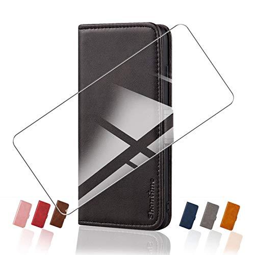 HHUAN Funda para LG K62+ K525BMW (6.60') Flip Cover + Cristal Templado Protector de Pantalla, Flip PU Leather Carcasa Soporte Plegable Función de Cover Billetera Case Caso - Black