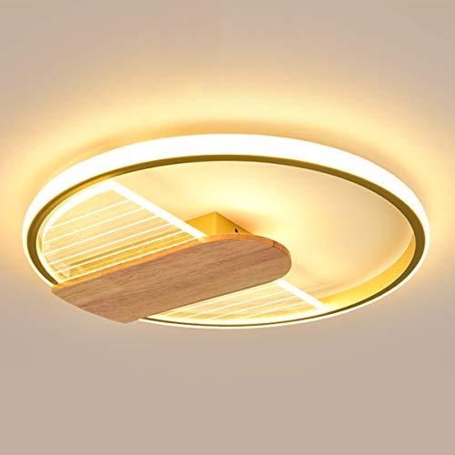 Luces de Dormitorio LED Regulable 42W, Lámpara de Techo de Anillo Redondo Ultrafina Moderna con Decoración de Madera, Luz de Techo de Metal Dorado Contiene Control Remoto, Luces de la sala, Ø50cm