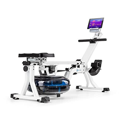 Capital Sports Flow - Máquina de Remode Agua, Banco de Remo, 80 cm de Largo, Ordenador con Pantalla LCD, Soporte para tabletas, Aluminio y Acero, 8Niveles/máx. 13 litros, Blanco