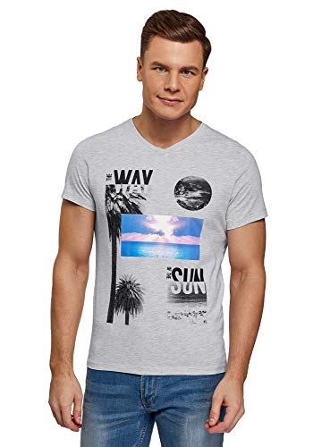oodji Ultra Hombre Camiseta de Algodón con Estampado, Gris, XL