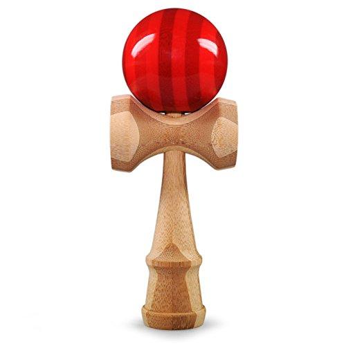 Ganzoo Kendama aus Buchen-Holz, Original Japanisches Traditionelles Holz-Spielzeug, Kugel-Spiel, Geschicklichkeits-Spiel, Geschenk (rot Streifen + Holz)