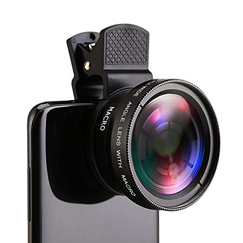 BINGXIAN Lente de teléfono móvil 0.45X lente gran angular y lente de cámara macro HD de 12.5X universal para iPhone Samsung y la mayoría de smartphones Android