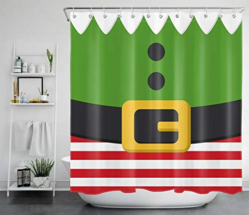 Lumengqi Disfraz Divertido de Duende navideo Cortina de Ducha Impermeable Decorativa con impresin HD, Adecuada para bao, 12 Ganchos Gratis, 180X180cm