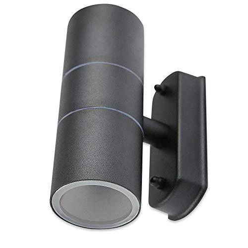LED Wandleuchte Außen anthrazit 3 Watt kaltweiß - IP44 Up und Down Außen-Leuchte aus Aluminium - 2x GU10 Außenstrahler Garten-Lampe