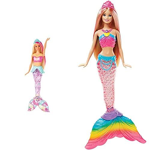 Barbie Dreamtopia, muñeca Sirena Luces de Arcoíris, Regalo para niñas y niños 3-9 años (DHC40) + Dreamtopia, Sirena Rubia Nada y Brilla con Accesorios