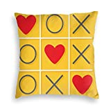 FULIYA Zippered Velvet Pillowcases,Tic-TAC-Toe Game with Xoxo Design Let Me Kiss You Valentines Romantic Illustration,Super Soft and Cozy Luxury Pillow Cases 18X18 Inches