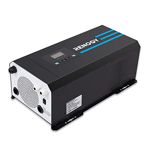 Renogy 3000 Watt 12V DC to 120V AC Pure Sine Wave Inverter Charger w/LCD Display Lithium Battery compatibility 9000W Surge