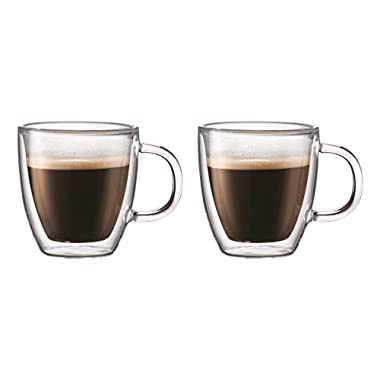 Bodum Bistro Coffee Mug, Double-Wall Insulated Glass Mugs, Clear, .15 Liter, 5 Ounces Each (Set of 2)