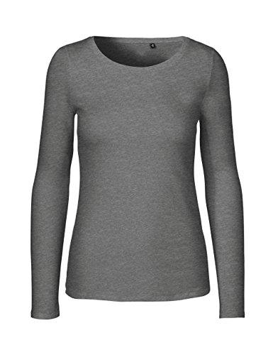 Green Cat- Damen Langarmshirt, 100% Bio-Baumwolle. Fairtrade, Oeko-Tex und Ecolabel Zertifiziert, Textilfarbe: dunkelgrau, Gr. S