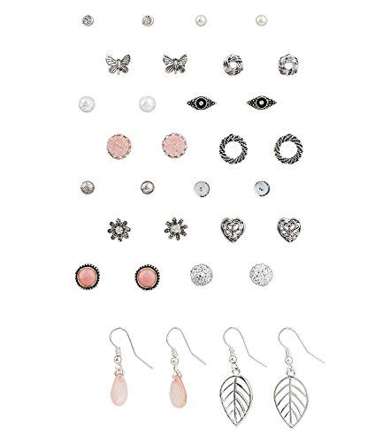SIX Ohrschmuck Set: 14 Ohrstecker und 2 Ohrhänger [Geschenk Idee für Frauen] – verschiedene Motive und Farben » Vintage Ohrschmuck « Schmuck - Stahl – Ohrschmuck (455-541)