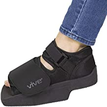 Vive Wedge Post-Op Shoe - Offloading Boot for Heel or Ankle Pain - Medical Foot Recovery for Bone or Soft Tissue Surgery, Fracture, Plantar Fasciitis, Ulcerations, Feet Wounds - Open Toe (Medium)