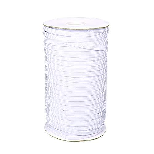 100 Yards Sewing Flat Elastic Bands - 3/10' Width Elastic Cord Roll High Stretch Knit Elastic Spool (8mm, White)