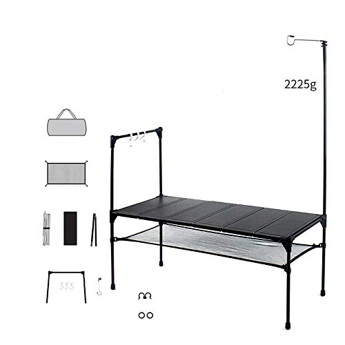 BENPAO Klapptisch Portable Indoor Outdoor Picknick Party Dining Camp Tische, 6 Blatt Aluminium Tabletop Free Spleißen - mit Licht Stand Hook Up Net Pocket