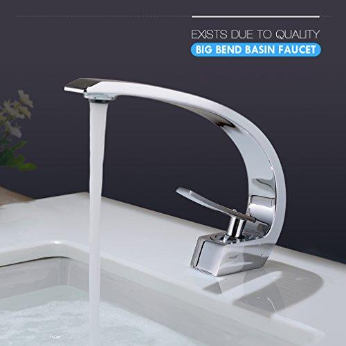 BONADE® Wasserfall Einhebel-Waschtischarmaturen Mischbatterie Wasserhahn Bad Armatur für Badezimmer Waschbecken, 59 Kupfer, Chrom - 8