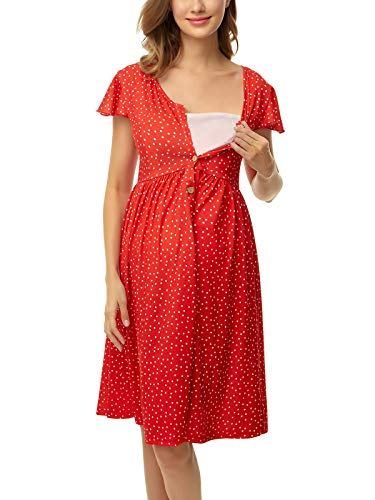 Ecavus Maternity Dress Nursing Breastfeeding Dresses Button Front Short Sleeve Comfy Pregnancy Clothes
