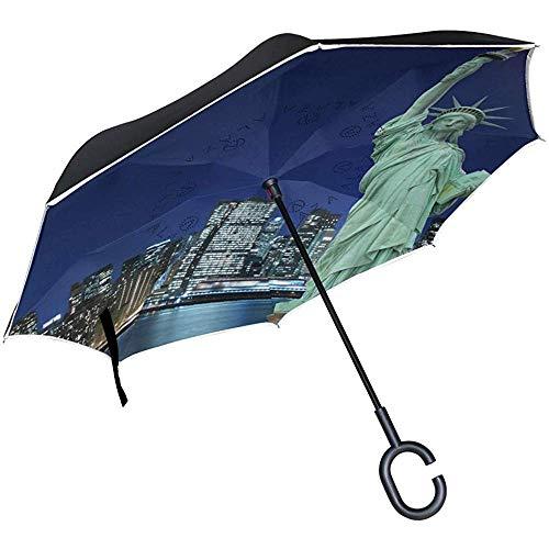 Double Layer Inverted Umbrella Skyline von Manhattan und The Statue of Reverse Taschenschirm Rain mit C-förmigem Griff