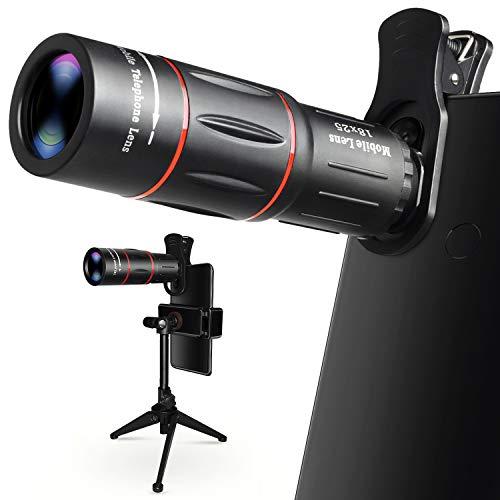 Obiettivo Zoom per Smartphone, Teleobiettivo da 18X con Treppiede, Lente HD da Cellulare per iPhone, Samsung, Android, Telescopio Monoculare