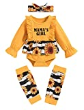 Toddler Baby Girl Clothes Ruffles Romper Leg Warmers Pant Set Fall Winter Outfits 3-6 Months Yellow