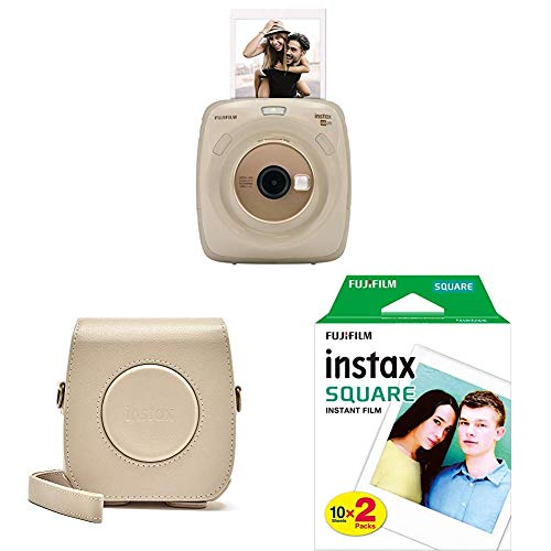 Fujifilm Instax SQUARE SQ 20 Hybride Sofortbildkamera, beige + Mini 90 Schutzhülle aus PU-Leder ohne Gurt + Square WW2 Colorfilm klar (Starterset)