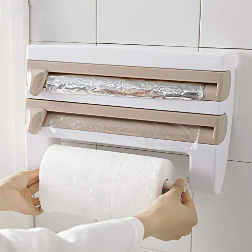 anruo Grote rol keukenpapierrek papieren rek opbergrek keuken 4 in 1 opbergbox opbergrek en hanger