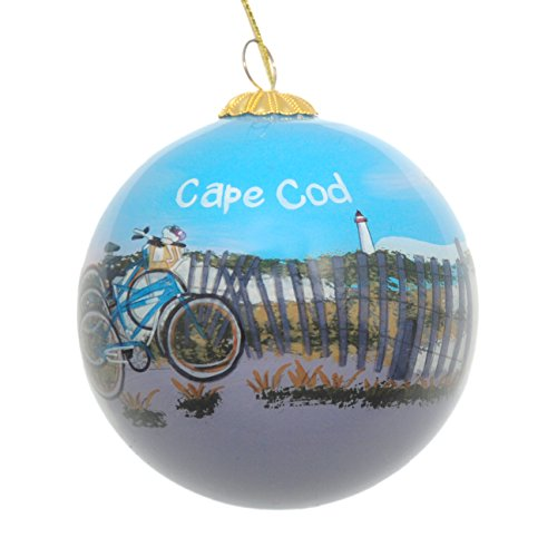 Hand Painted Glass Christmas Ornament - Bicycles On The Beach By Fence Cape Cod