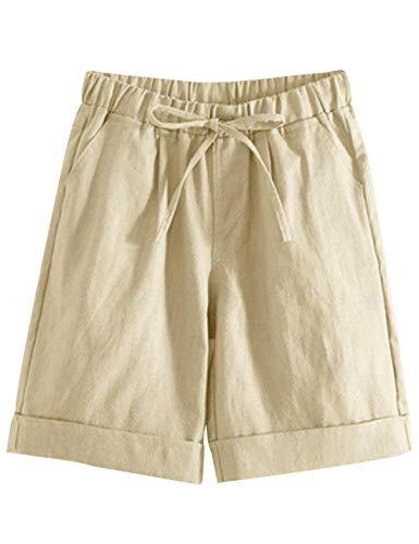 Yeokou Womens Casual Cotton Elastic Drawstring Summer Beach Bermuda Pocketed Shorts(Khaki-L)
