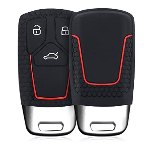 kwmobile Autoschlüssel Hülle kompatibel mit Audi 3-Tasten Smartkey Autoschlüssel (nur Keyless Go) - Silikon Schutzhülle Schlüsselhülle Cover in Schwarz Rot