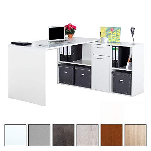 RICOO Schreibtisch WM081-W Holz Hell Weiß | Winkelkombination Arbeitstisch Computer Tische Office...