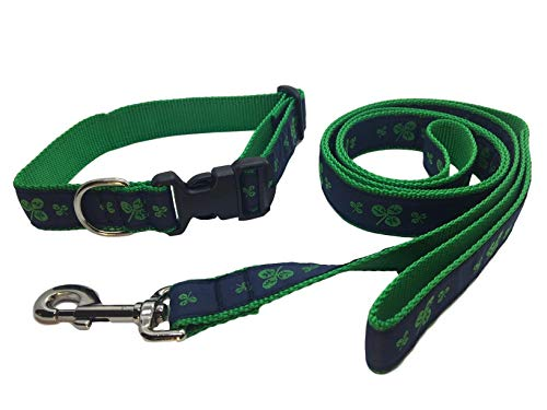 Preston Shamrock Dog Collar and Leash Set Navy/Green Ribbon and Nylon Webbing (Large) by Preston Inc