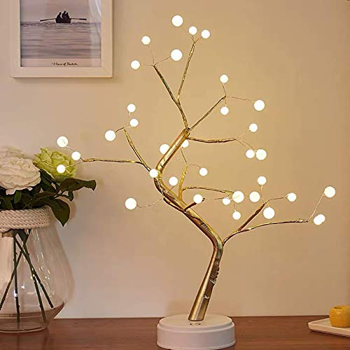 Blue_Bone Pearl Twig Light Branches Tree Light with 36 LED USB&Battery Powered Adjustable Gold Branches Touch Sensitive Switch Table Lamp Night Light for Home Wedding Christmas Decoration and Gift