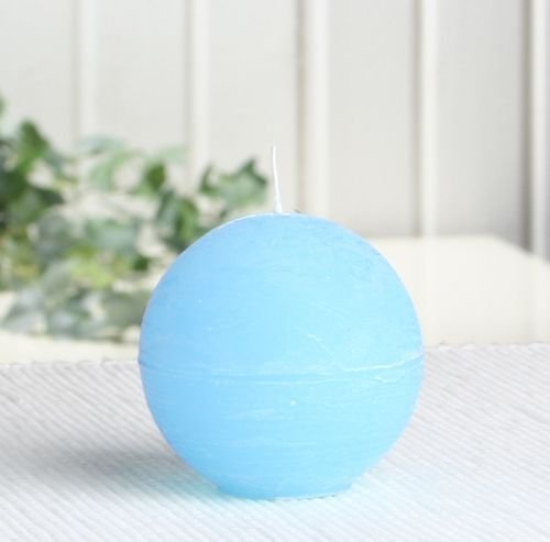 Rustik-Kugelkerze, 6 cm Ø, hellblau