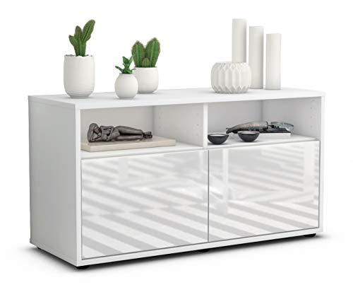 Stil.Zeit TV Schrank Lowboard Alegra, Korpus in Weiss matt/Front im Hochglanz Design Weiß (92x49x35cm), mit Push to Open Technik, Made in Germany