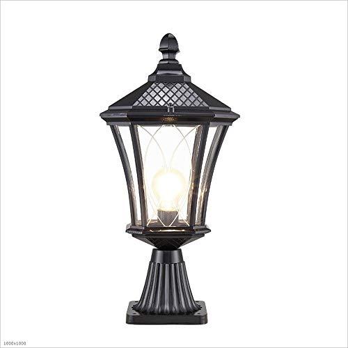 Europäisches Retro Porch Nachtlicht Außenpfosten-Lichter aus Aluminiumdruckguss for Gatter Säulen Rasen Säule Terrasse Schwimmbad Wasserdicht IP55 (Color : Schwarz)