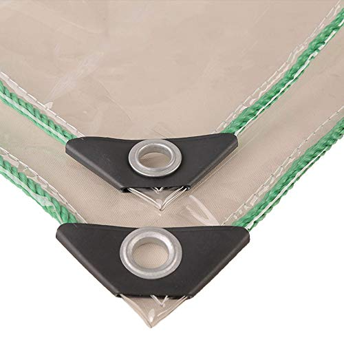 NaDrn Tarps Heavy Duty Waterproof Poly Tarp Clear Transparent, Multi-Purpose Tear Resistant Dust Tarpaulin Heavy Duty with Grommets Tent Cover Garden/Pets/Camping,1.5mX2m/6.5x5ft