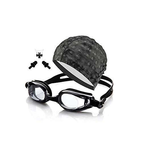 Cfilet Gafas de natación, con Grado Gafas de natación Myopia, Gafas de natación Anti Niebla UV Protección Clara Triatlón Gafas de natación Adult Piscina Gafas (Color: Negro, Tamaño: 150 °)