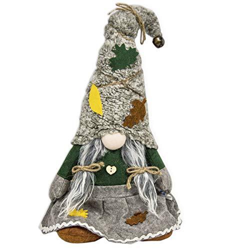 R.P. Fermaporta Gnomo Elfa Pupazzo Decorativo Natale Betta Tirolese Country Chic - Cappello Con Campanellino - H. 55 Cm - Idea Regalo - Grigio