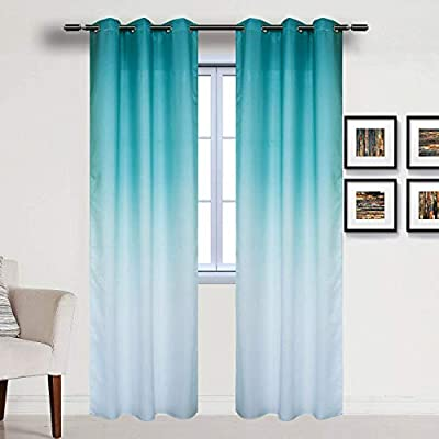 Turquoise Ombre Textured Curtains 2 Panels Gradient Semi Blackout Room Darkening Drapes Thermal Grommet Window Treatments Curtains for Bedroom Living Room Sliding Glass Door, 42 x 84 Inch Length