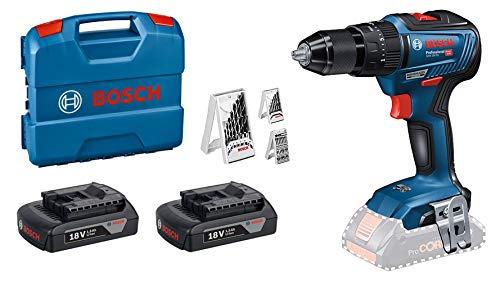 Bosch Professional 18 V System cordless Combi Drill GSB 18 V-55 (max. torque 55 Nm, including 2 x 1.5 Ah battery, charger GAL 18 V-20, L-CASE + 3case Bitset) - Amazon Exclusive Set