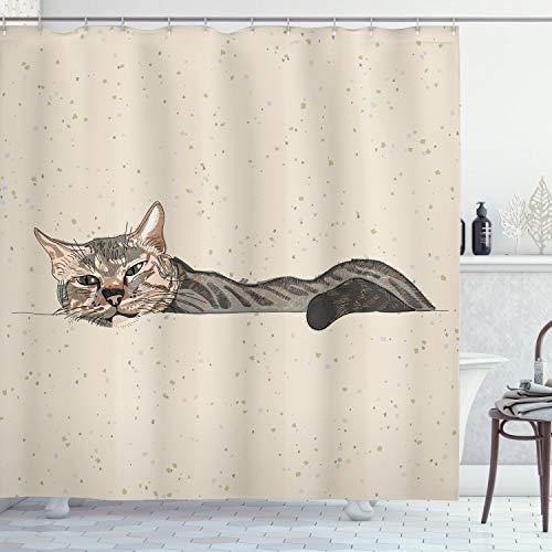 ABAKUHAUS Tier Duschvorhang, Lazt schläfrige Katze Figur, mit 12 Ringe Set Wasserdicht Stielvoll Modern Farbfest & Schimmel Resistent, 175x240 cm, Beige Grau