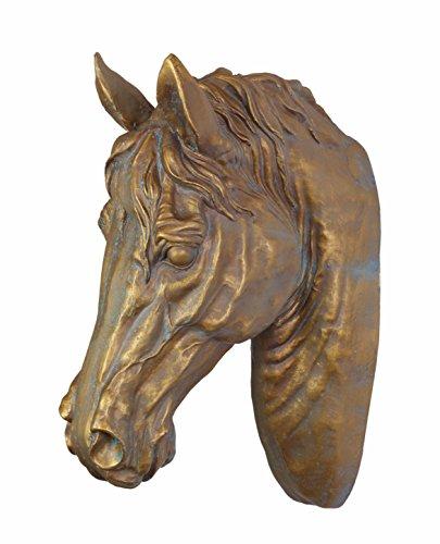 Deko Pferdekopf Pferd Büste Skulptur Wanddeko Polyresin/Keramik 46,6 cm