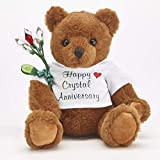 JustPaperRoses Happy 15th Wedding Anniversary Teddy Bear with Crystal Rose Gift