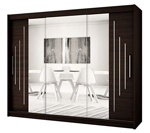 Kryspol Schwebetürenschrank York 2-250 cm mit Spiegel Kleiderschrank mit Kleiderstange und Einlegeboden Schlafzimmer- Wohnzimmerschrank Schiebetüren Modern Design (Wenge)