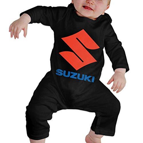 Jingliwang Unisex Baby Rundhalsausschnitt Langarm Bodysuit Suzuki Logo Lustige Krabbelkleidung Schwarz