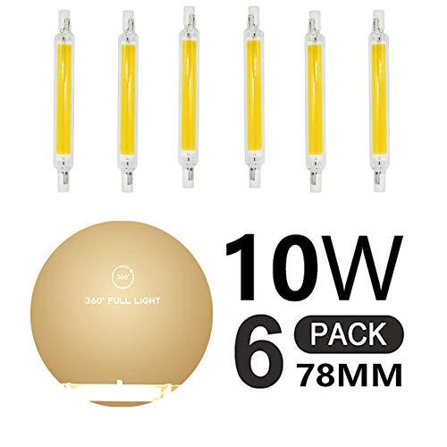 R7S Bombillas LED 10W 78mm Bombilla LED COB Reemplace la Lámpara Halógena 100W Blanco Cálido 3000K Proyector de Doble Extremo Lluminación Omnidireccional de 360 ° (6 PCS),110v