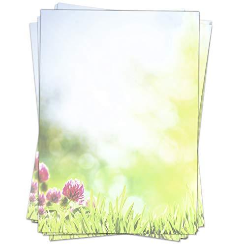 50 Blatt Briefpapier Motiv Sommerwiese/Blumen/Grün/Frühling/Sommer/beidseitig bedruckt/DIN A4, 90 g Papier