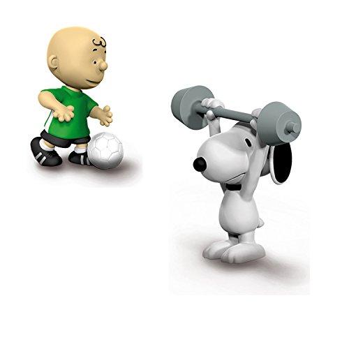 Schleich Peanuts - Fußballer Charlie Brown 22078 mit Gewichtheber Snoopy 22075