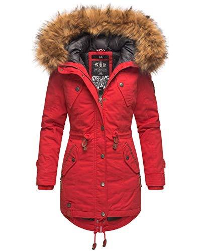 Marikoo warme dames winter jas winterjas parka mantel imitatiebont capuchon B813